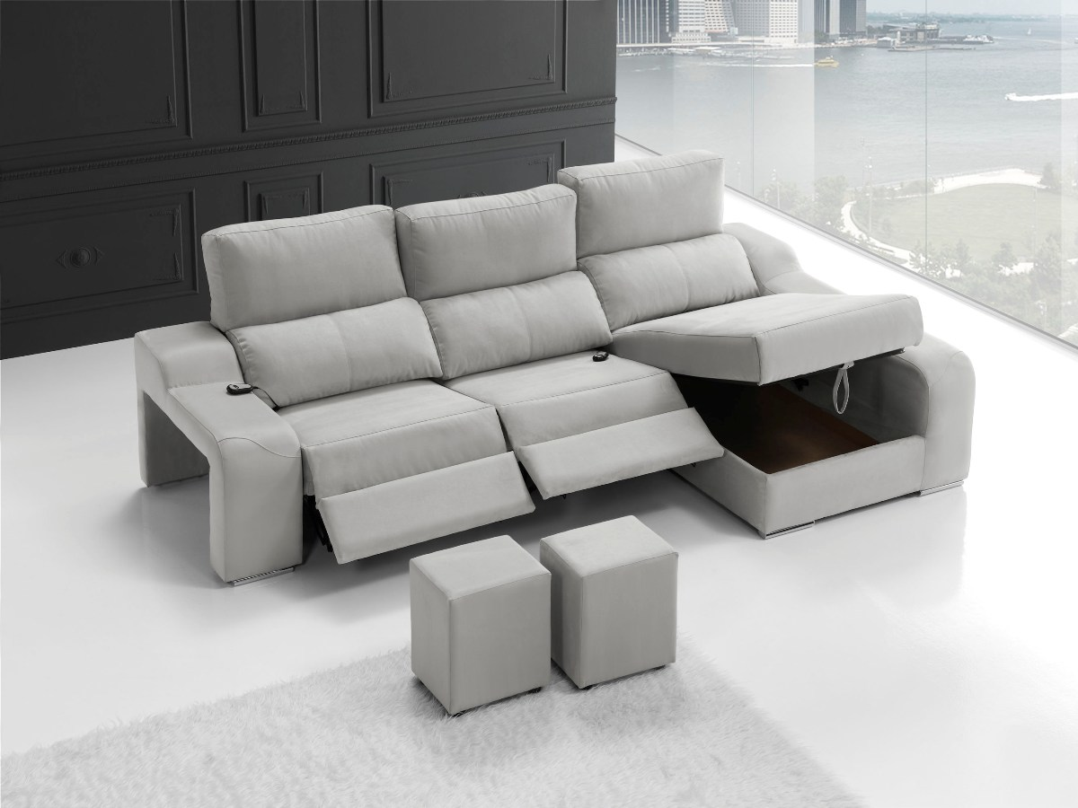 Sofa 3 plazas blanco con reposapies